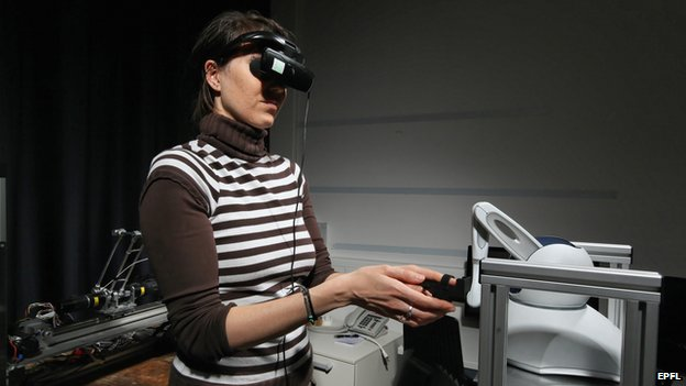 Cognitive-haptic interfaces- robotics, sensorimotor processing, and bodily self-consciousness.