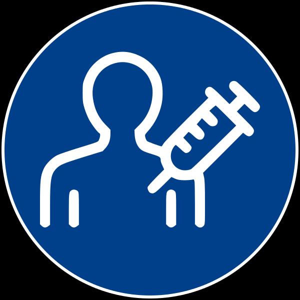 Cartello stradale di obbligo (tondo blu) con logo di uomo che subisce iniezione.