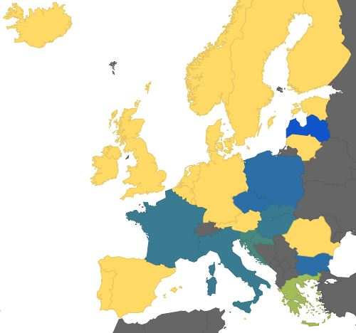 Mappa delle nazioni europee col numero di vaccini obbligatori