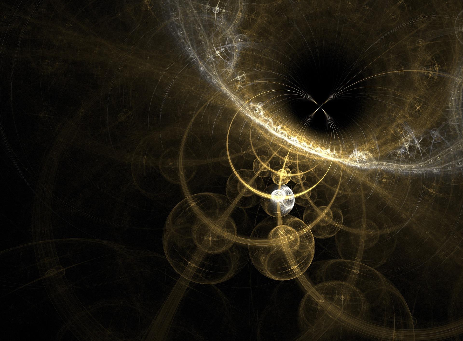 Cerchi concentrici frattali che richiamano il moto delle particelle